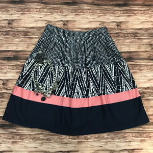 George Blue, White, and Pink Midi Skirt Size 4